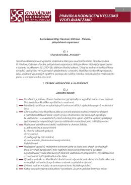 Pravidla hodnocení výsledků vzdělávání