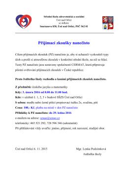 info - Střední zdravotnická škola, Ústí nad Orlicí