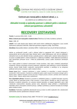 RECOVERY (ZOTAVENÍ) - Centrum pro rozvoj péče o duševní zdraví