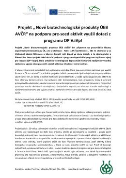 Tisková zpráva o ukobčení projektu