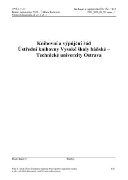Knihovní a výpůjční řád Ústřední knihovny VŠB-TUO