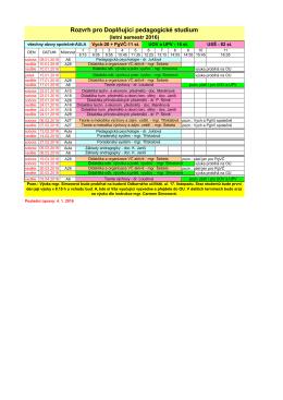 Rozvrh DPS pro letní semestr 2016