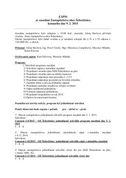 Zápis ze zasedání zastupitelstva 9.2.2015