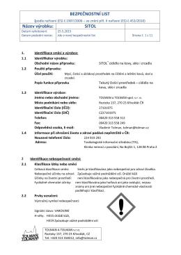 BEZPEČNOSTNÍ LIST Název výrobku: SITOL