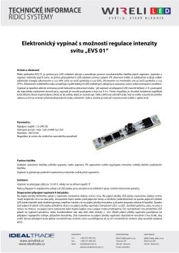 Elektronický vypínač s možností regulace intenzity