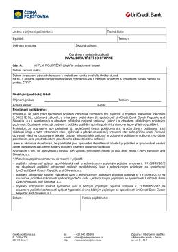 Formulář oznámení pojistné události – invalidita