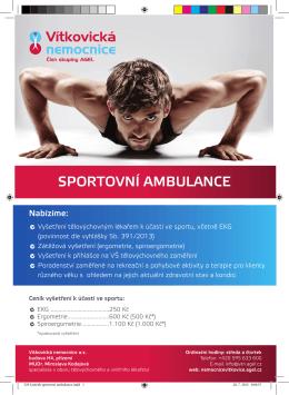Letáček sportovní ambulance - Vítkovická nemocnice