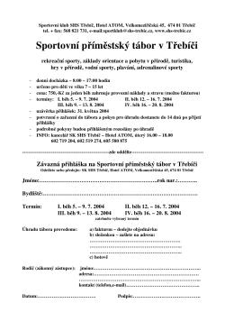 Sportovní příměstský tábor v Třebíči - shs