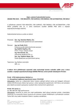 Zápis hodnocení poroty GRAND PRIX 2015