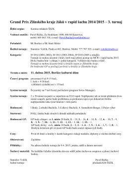 Grand Prix Zlínského kraje žáků v rapid šachu 2014/2015 – 3. turnaj