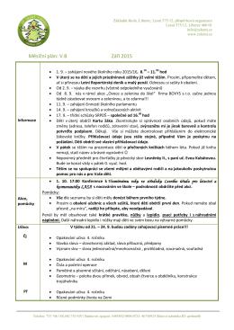 Měsíční plán: V.B Září 2015