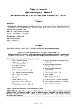 Zápis z VV dne 29. a 30. 06. 2015 - Asociace institucí vzdělávání