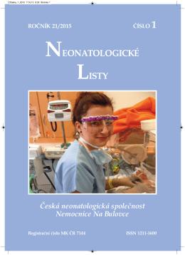 Ročník 21 - 2015 - číslo 1 - Česká Neonatologická Společnost