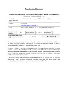 Projekt Sanatoria Jablunkov, a.s. Zkvalitnění ošetřovatelské péče na
