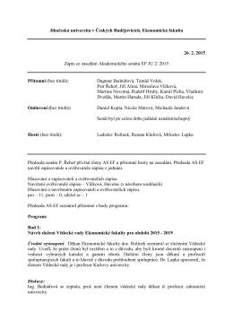 2015 - Ekonomická fakulta Jihočeské univerzity v Českých
