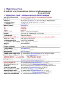 Základní údaje - Obchodní akademie Bučovice