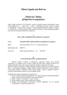 Město Lipník nad Bečvou Zřizovací listina příspěvkové organizace