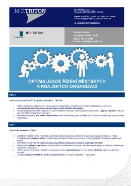 Služby v oblasti optimalizace řízení městských a krajských organizací