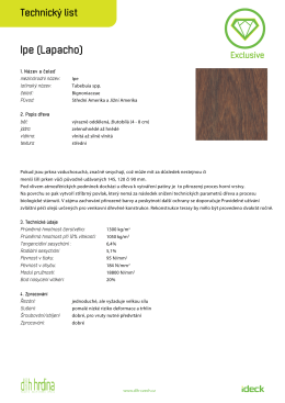 Technický list dřevěné terasy ipe
