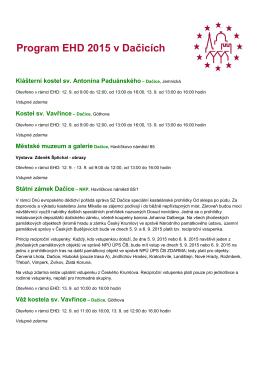 Program EHD 2015 v Dačicích - Městské muzeum a galerie Dačice