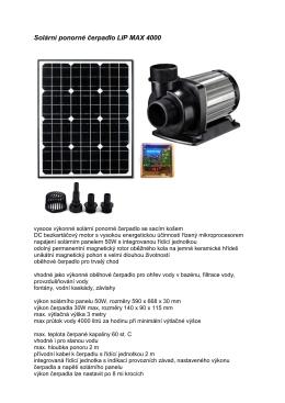 Solarni ponorne cerpadlo LIP MAX 4000