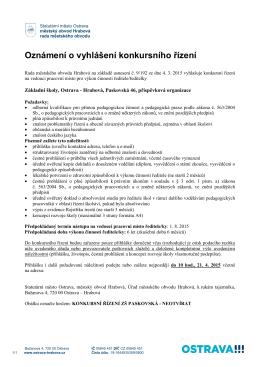 Oznámení o vyhlášení konkursního řízení - Svinov