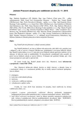 Jednání Pracovní skupiny pro vzdělávání ze dne 23