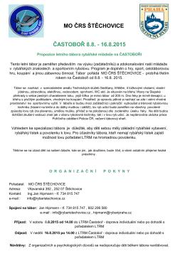 MO ČRS ŠTĚCHOVICE ČASTOBOŘ 8.8.