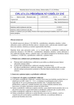 Směrnice 50 - Úplata v MŠ - Mateřská škola Univerzity obrany