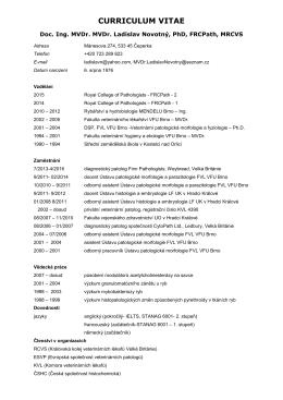 CURRICULUM VITAE - Doc. Ing. MVDr. Ladislav Novotný, Ph.D.