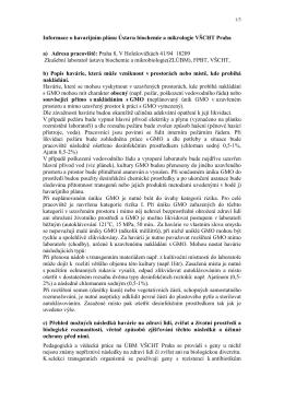 Informace o havarijním plánu Ústavu biochemie a mikrologie