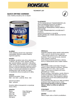Technický list - Ronseal Quick Drying Varnish