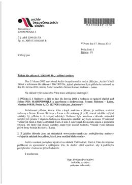Č.j. ABS 2299/2015 R - Archiv bezpečnostních složek