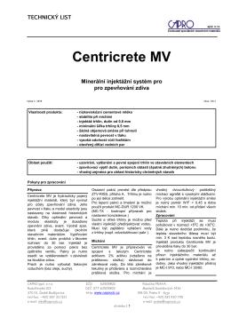Centricrete MV - CAPRO spol. s ro