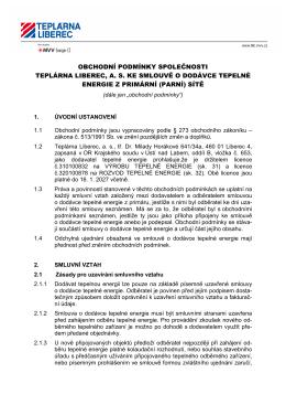 Obchodní podmínky pro dodávku energie z primární sítě