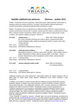 Nabídka vzdělávání pro pěstouny Olomouc – podzim 2015