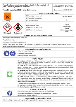 Toxické chemické látky a směsi viz příloha