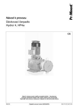 Dávkovací čerpadlo, Hydro/ 4, HP4a