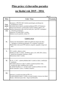 na školní rok 2015 - 2016 Plán práce výchovného poradce