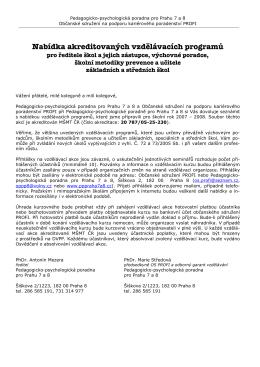 Nabídka akreditovaných vzdělávacích programů pro ředitele škol a