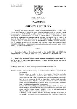 Rozsudek ze dne 14.prosince 2015