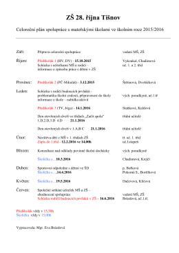 ZŠ 28. října - Plán spolupráce na rok 2015/2016