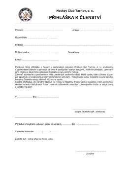 Přihláška k členství v HC Tachov 71.96 kB,
