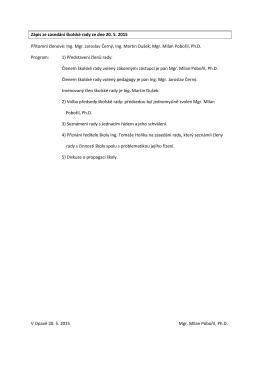 Zápis ze zasedání školské rady ze dne 20. 5. 2015 Přítomní členové