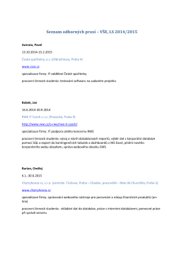 Seznam odborných praxí – VŠE, LS 2014/2015