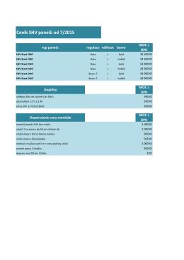 Ceník SHV panelů od 7/2015