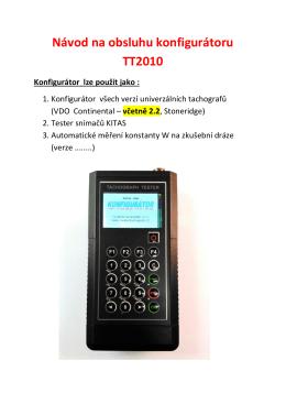 Popis funkcí - Centrum Tachografů