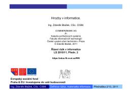 Řízení rizik v informatice, 2/13 - Edux