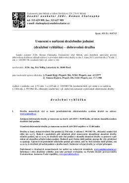 Usnesení o nařízení dražebního jednání (dražební vyhláška