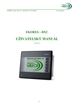Uživatelský manuál EKOREG-BXC - verze 2